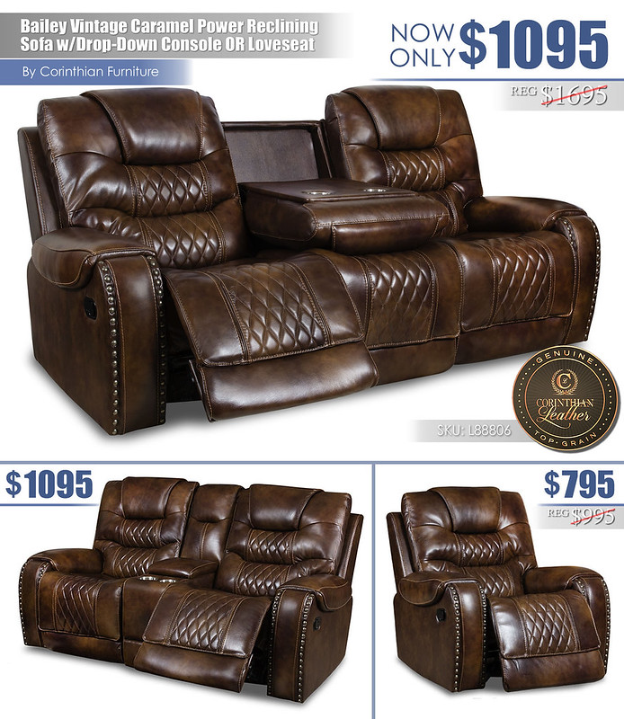 Bailey Vintage Caramel Leather Power Reclining Set_L88806_Layout