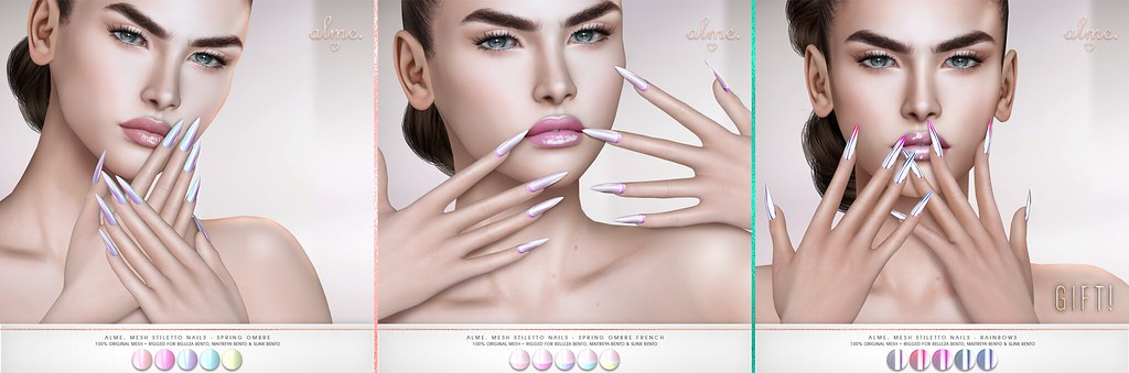 "Alme for Fameshed - ""Alme Mesh Stiletto nails//Spring Ombre"" ♥ - TeleportHub.com Live!"