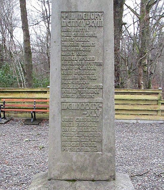 Dedication, Arrochar and Tarbet War Memorial