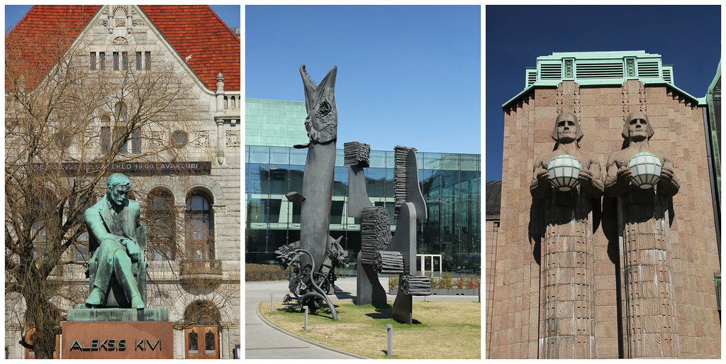 Aleksis Kivi statue, Song Trees sculpture and Helsinki Central Railway Station