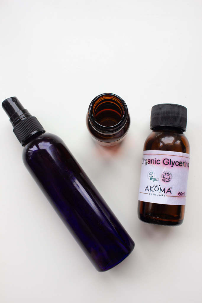 Facial toner made from rosewater, rosehip oil, and glycerine