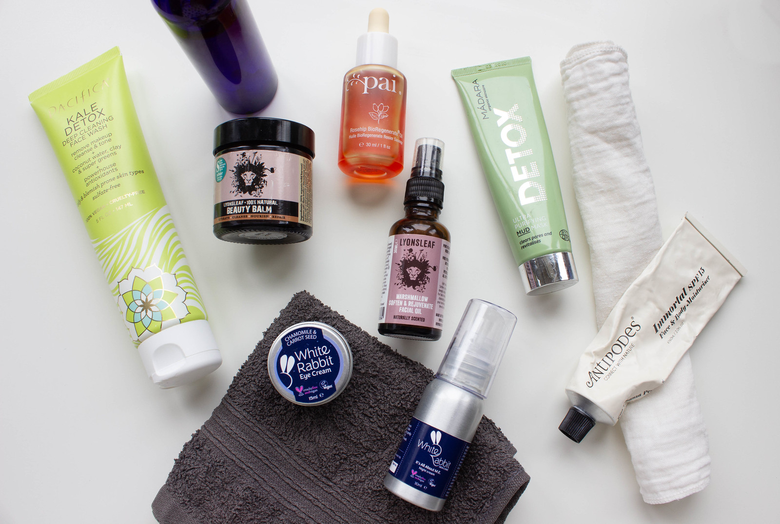 A collection of low waste, vegan-friendly skincare products
