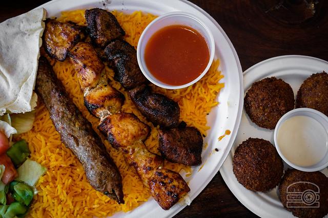 Lamb & Chicken Kebaba w/ Falafel - Jasmine Grill