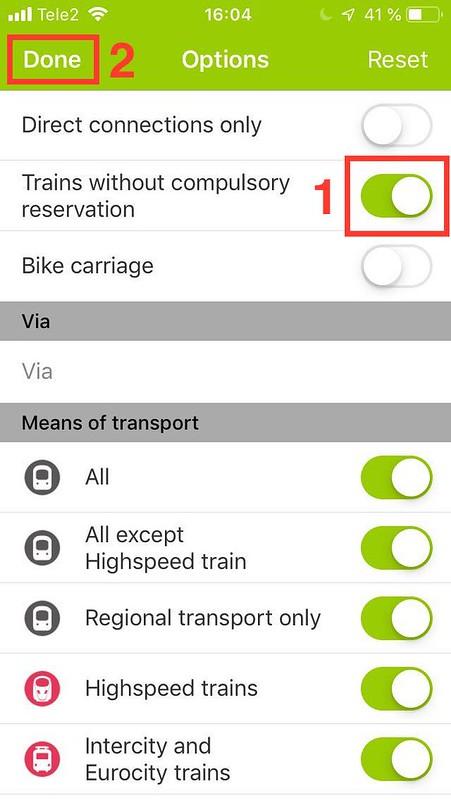 Sök efter tåg utan obligatoriska platsreservationer med interrail