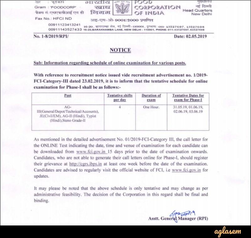FCI 2019 Examination Date - Notice