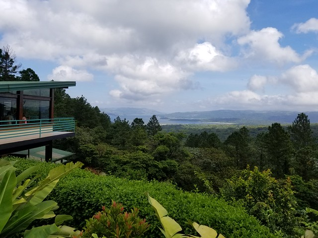 View of Arenal Lake from the deck at Arenal Observatory Lodge. Costa Rica.
