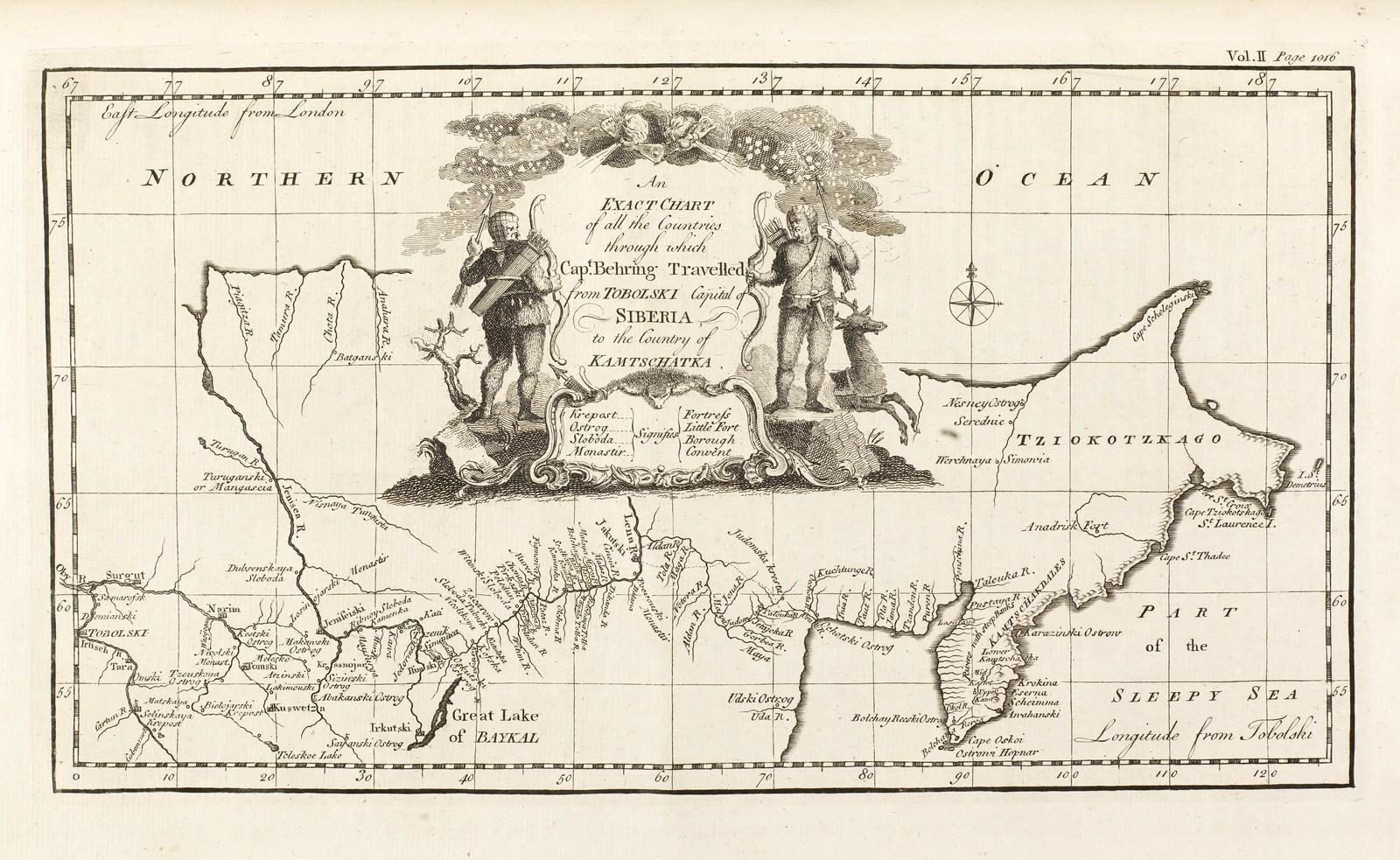 1764. Точная карта всех стран, через которые капитан Беринг путешествовал из столицы Сибири Тобольска в страну Камчатку