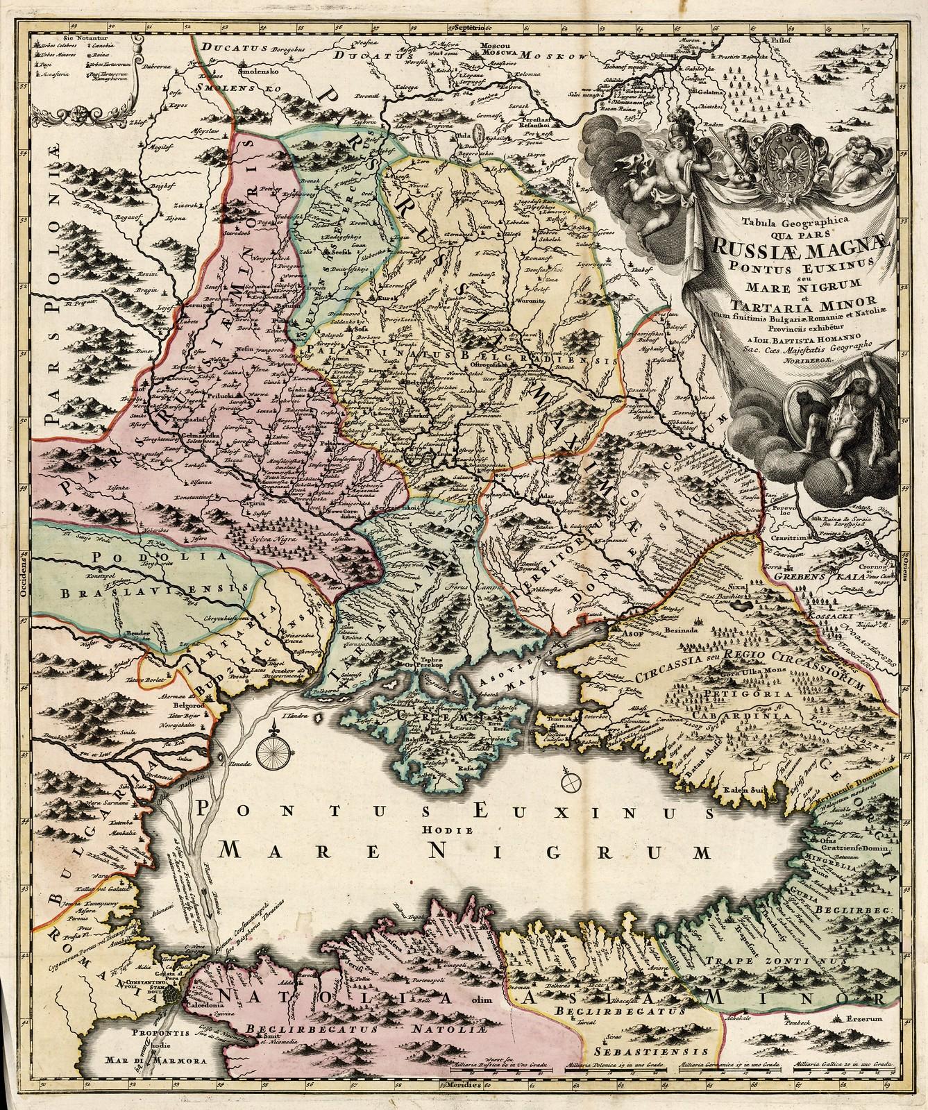 1705-1714. Карта Черного моря с прилегающей территорией