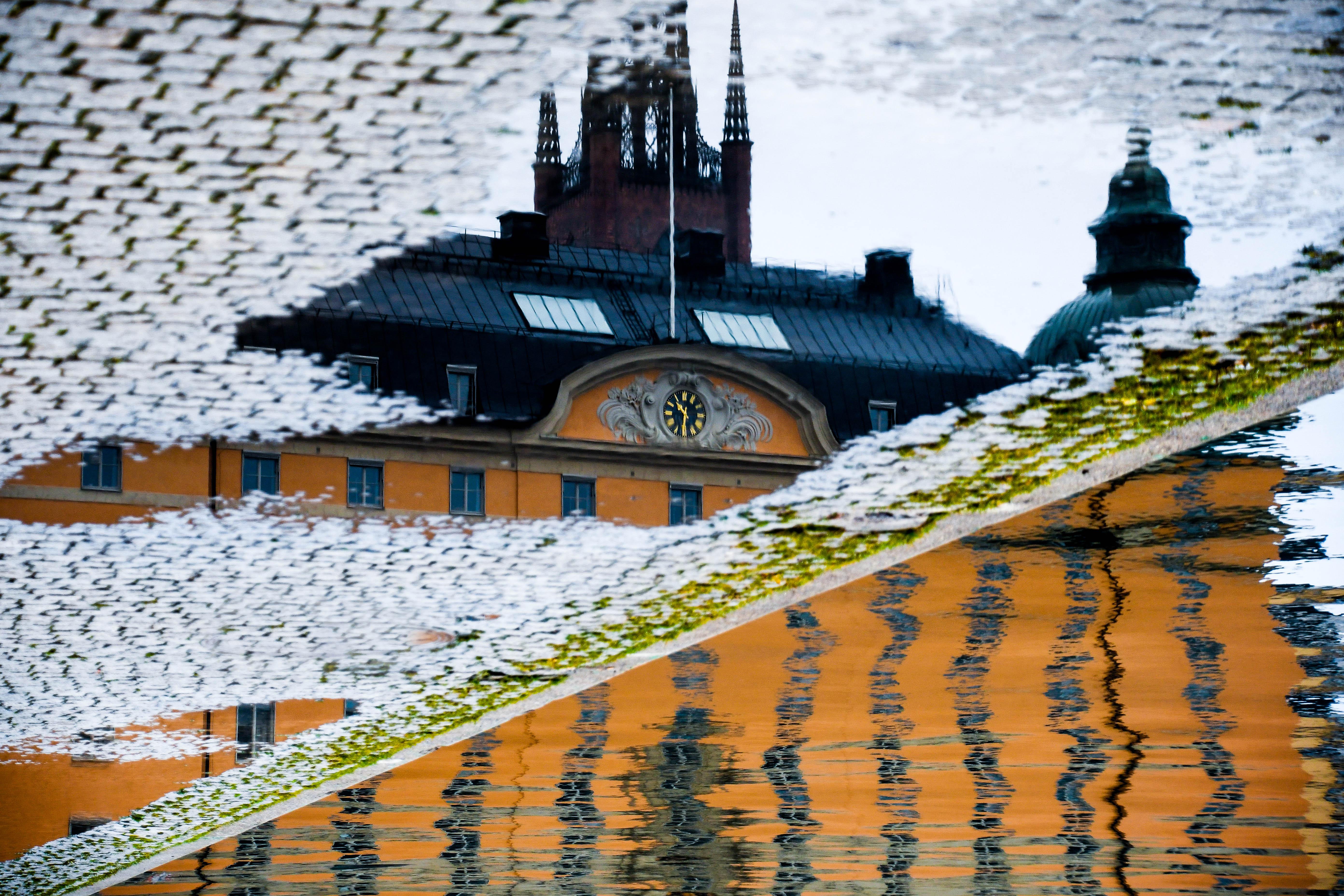 Upside Down Stockholm rainy day reflection