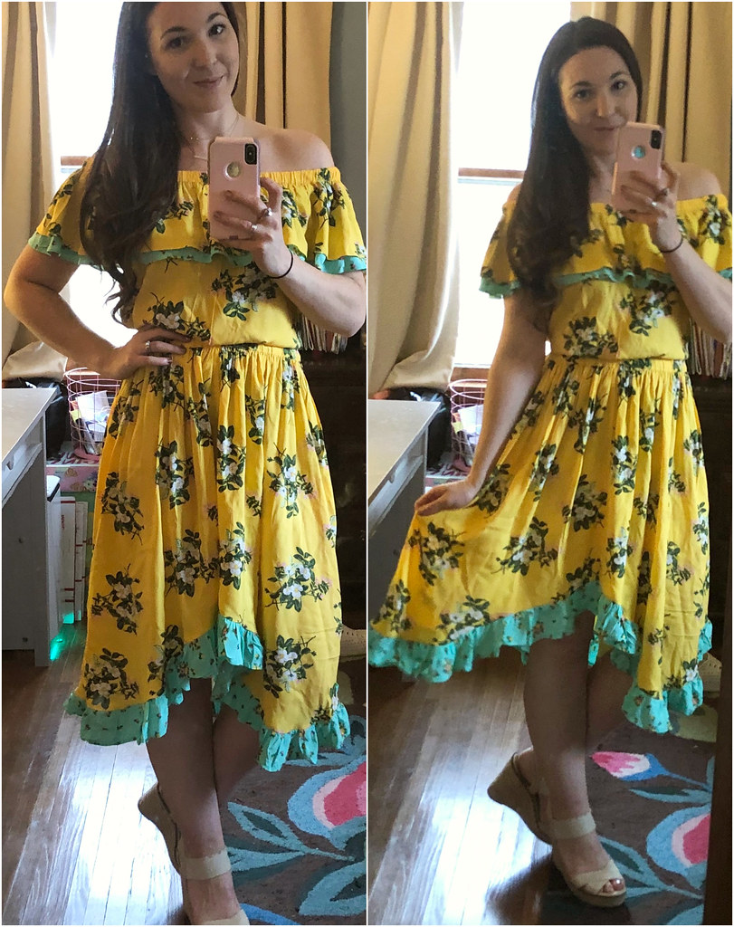 womens yellow floral hooked on a feeling dress