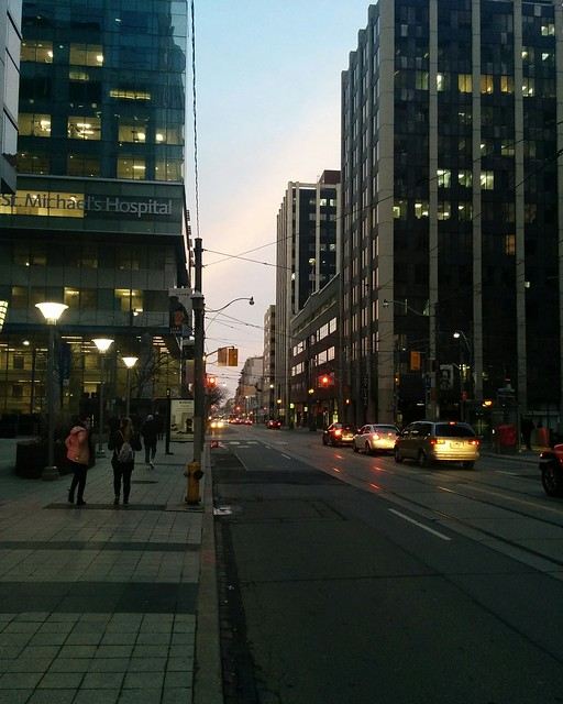 Looking east yesterday evening, Queen at Victoria #toronto #queenstreet #queenstreeteast #yongeandqueen #evening #latergram