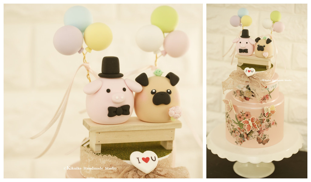 Handmade Pug And Pig Bride And Groom Mochiegg Wedding Cake