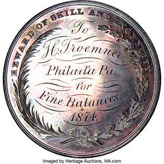 1874 froemner Franklin Institute Silver Medal reverse
