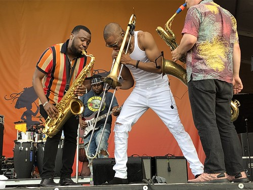 Trombone Shorty closes out the Acura Stage at Jazz Fest Day 8 - 5.5.19. Photo by Ryan Hodgson-Rigsbee rhrphoto.com