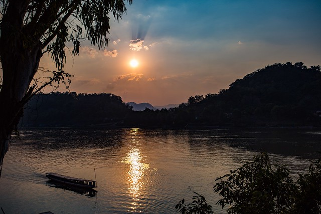 Sunset On The Mekong River, Laos