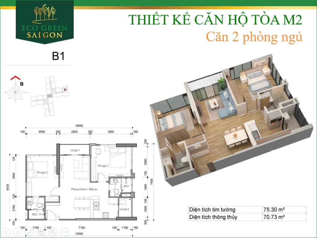 Mặt bằng căn hộ B1, loại 2 phòng ngủ, tòa tháp M2 dự án Eco-Green Sài Gòn quận 7.