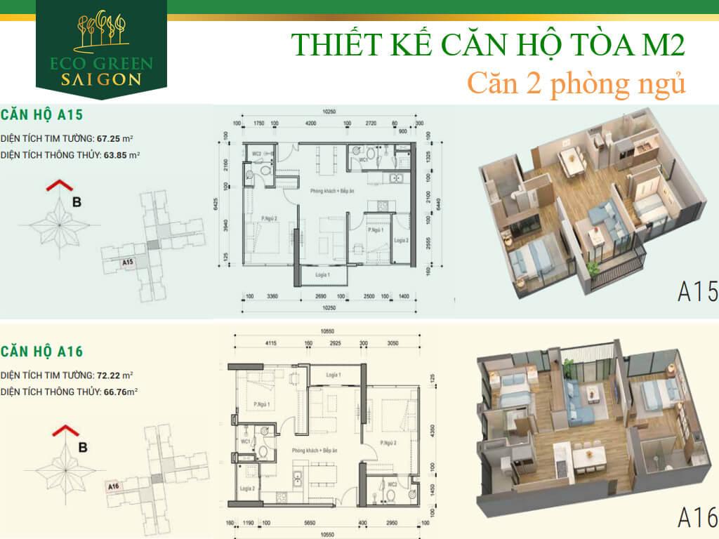 Mặt bằng căn hộ A15-A16, loại 2 phòng ngủ, tòa tháp M2 dự án Eco-Green Sài Gòn quận 7.