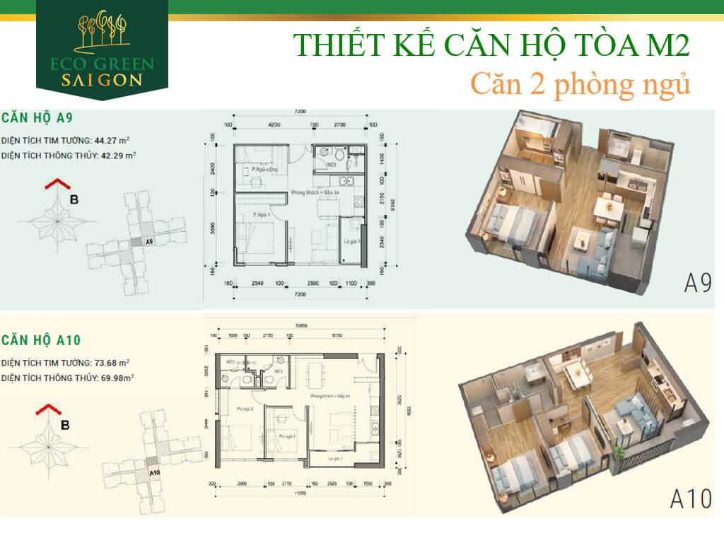 Mặt bằng căn hộ A9-A10, loại 2 phòng ngủ, tòa tháp M2 dự án Eco-Green Sài Gòn quận 7.