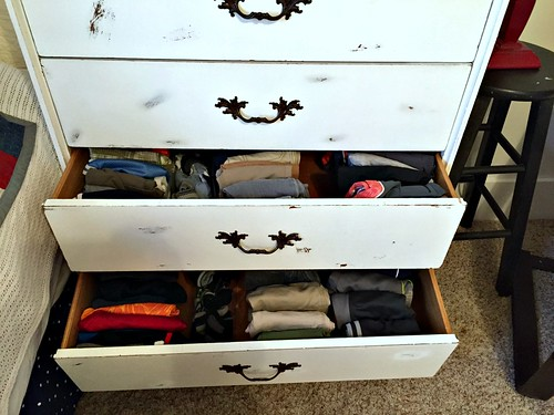 dresser drawers filled with folded pants