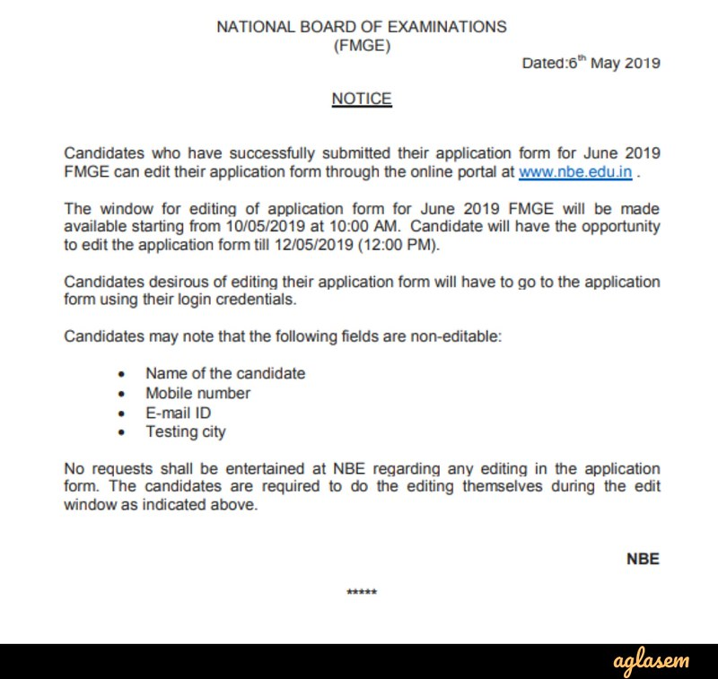 Notice Regarding Application Form Editing