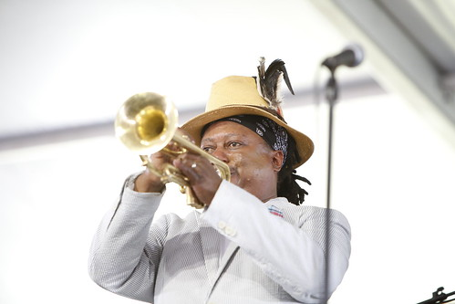 Kermit Ruffins at Jazz Fest 2019. Photo by Michele Goldfarb.