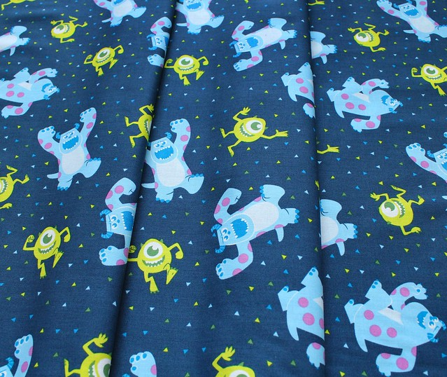 Camelot Fabrics Pixar Coloring Collection 85300103 Monsters,Inc. Mike & Sully in Navy