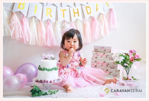 1歳の誕生日 女の子 ピンクのバースデーデコレーション