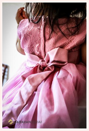 子供用ドレス パープル 後ろ姿 リボン付き