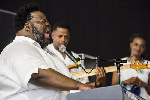 Craig Adams with the Raymond Myles Tribute featuring the RAMS in the Gospel Tent during Jazz Fest 2019 day 8 on May 5, 2019. Photo by Ryan Hodgson-Rigsbee RHRphoto.com