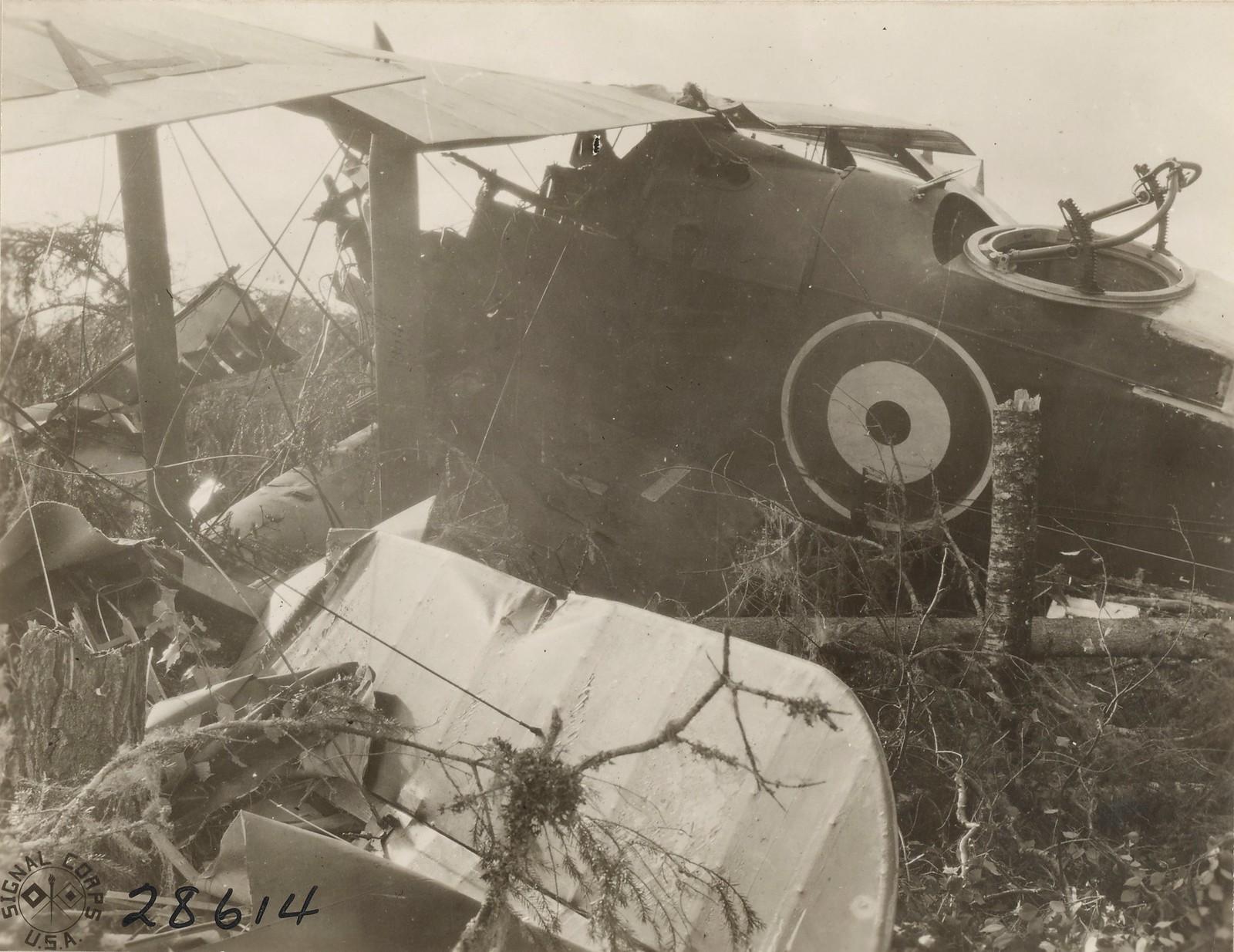 Обозерская. Поврежденный британский аэроплан