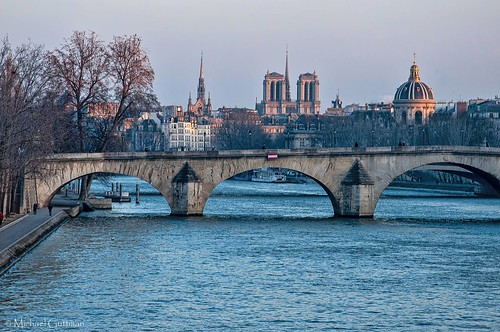 paris france pontroyal notredame institutdefrance passerelleléopoldsédarsenghor seine river bridge city cityscape dome riverwalk waterway