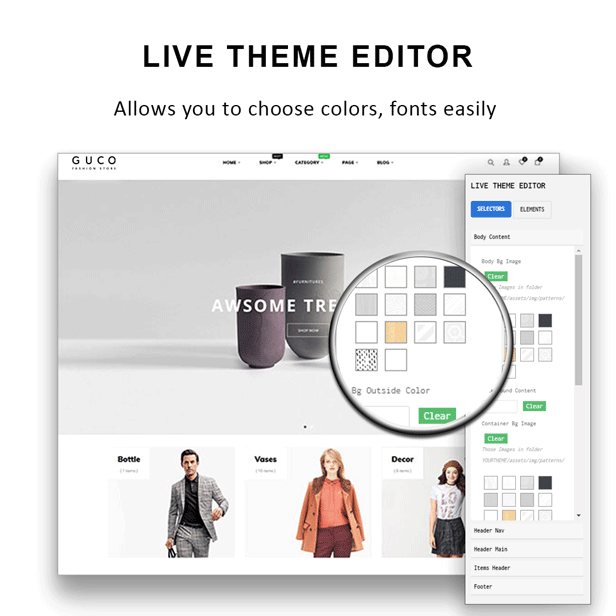 At Guco - shoes Fashion PrestaShop Theme - Live theme editor