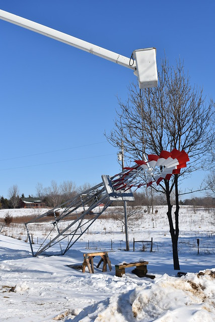 Installation of windmill that Olivia painted