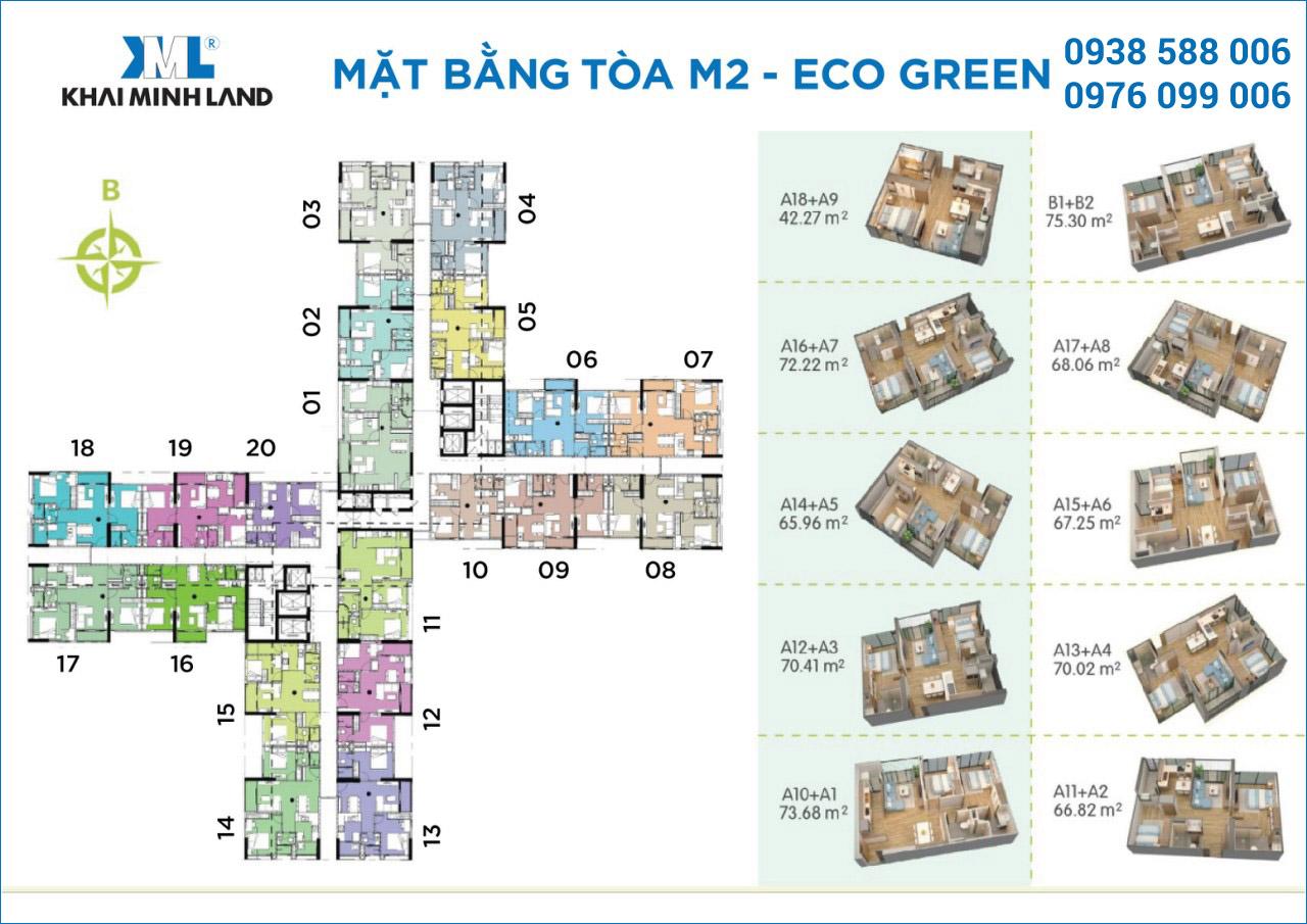 Mặt bằng chi tiết căn hộ tại tòa tháp M2 dự án căn hộ Eco-Green Sài Gòn quận 7.