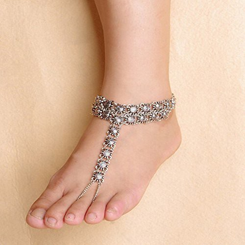 Antique oxidised silver anklet and traditional chain round A mere looking foot silver anklet jewelry