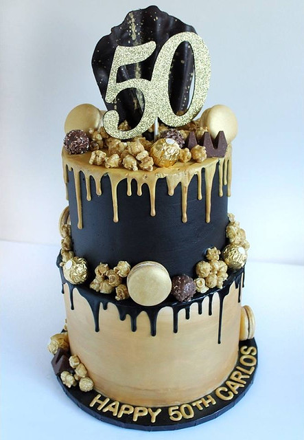 Black and Gold Cake by Sweet Mare Cakes