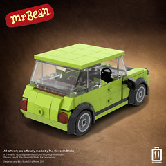 MOC, Mini Cooper classic from the Mr.Bean show.  Took awhile for this build to finish to the way I wanted. Originally the design was too boxy and plain looking. The goal was to fit in at least two Minifigures for this vehicle. Somehow I manage to designed