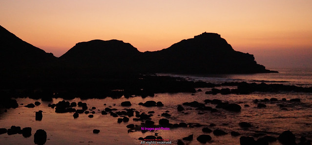 Sunset at the Giant's Causeway in County Antrim