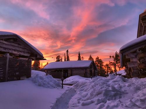 ruka kuusamo lapland finland winter snow sunset