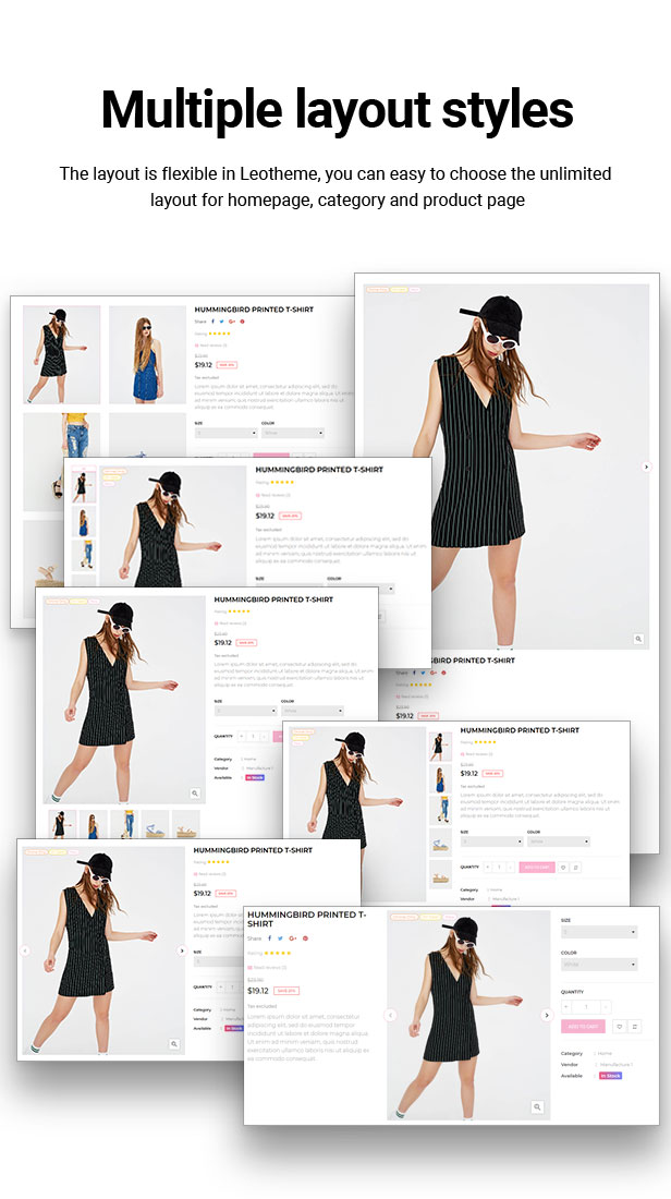 multiple product page layouts
