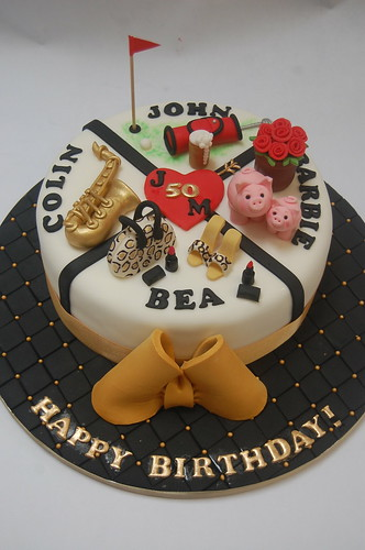 Birthdays Within A Short Period Of Time This Cake Has Separate Sections Depicting The Recipients Favourite Things Quadruple Birthday From 90