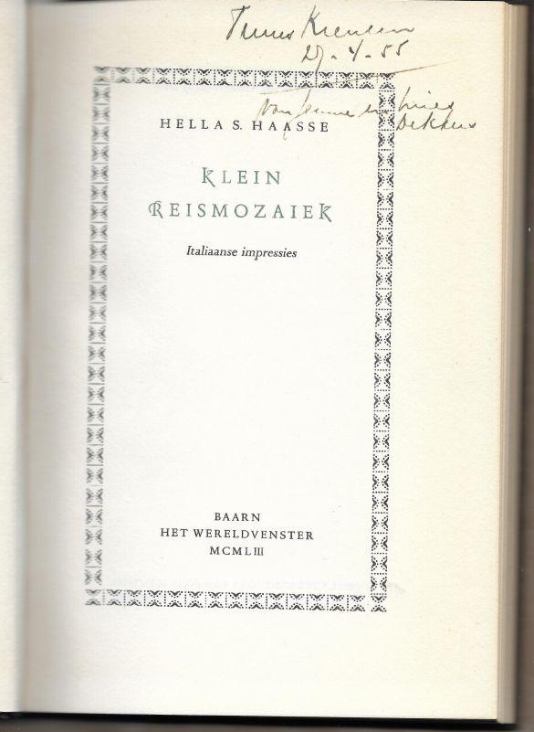 HellaSHaasseKleineReismozaiekItaliaanseImpressiesHetWereldvenster1953-03Titelblad