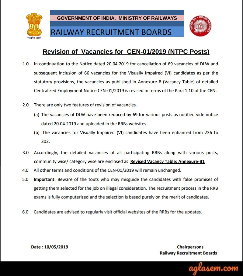 RRB NTPC Vacancy Notice 2019