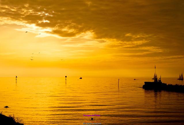 Sunset at Antrim marina Lough Neagh