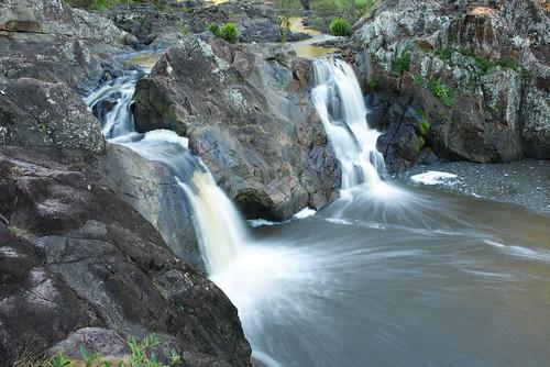 australia queensland yandina sunshinecoast river creek water waterfall rocks cliffs landscape timeexposure