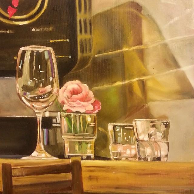 בר דלפק שקופים וורד באגרטל פרח ציור שמן פרידה פירו ציירת אמנית עכשווית ישראלית ציירות אמניות ישראליות