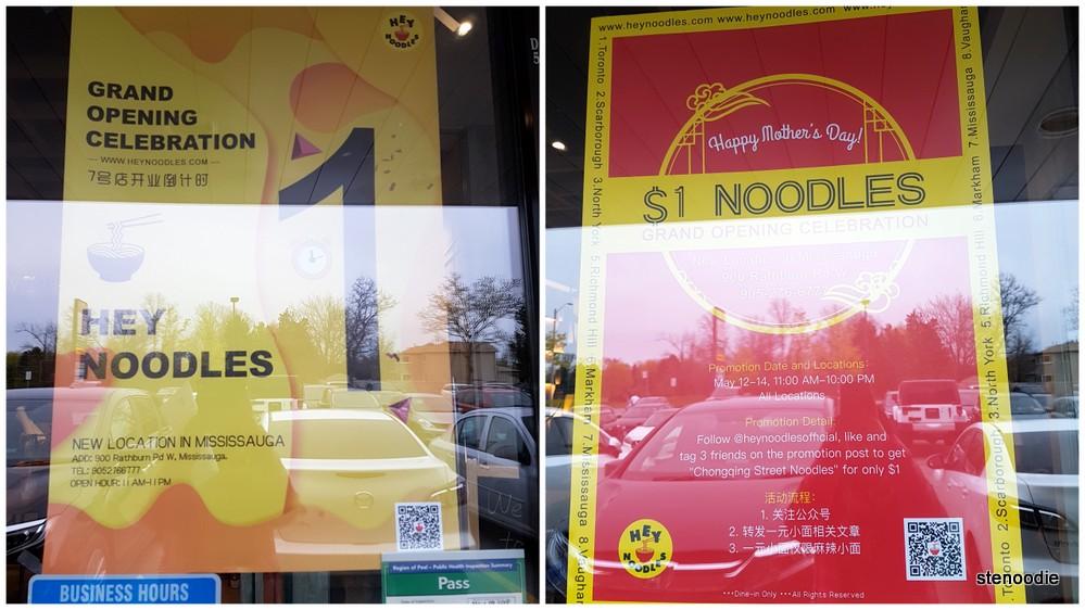 Hey Noodles $1 noodle promotion