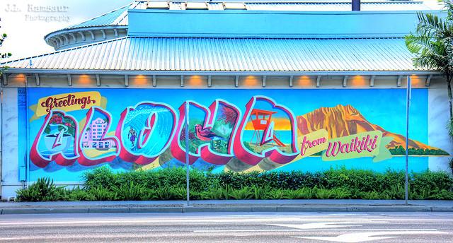 Greetings & Aloha from Waikiki mural - Honolulu, Oahu, Hawaii