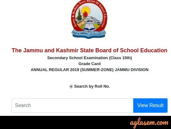 JKBOSE 10th Result 2019 Jammu Annual Regular Summer Zone- Available