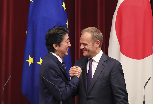 EU key officers meet Japan's PM Abe
